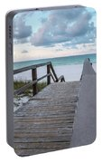 View Of White Sand And Blue Ocean From Wooden Boardwalk Portable Battery Charger