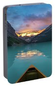 Viewing Snowy Mountain In Rising Sun From A Canoe Portable Battery Charger