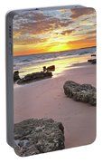 Gale Beach At Sunset. In Algarve Portable Battery Charger