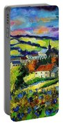 Village And Blue Poppies  Portable Battery Charger