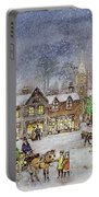 Village Street In The Snow Portable Battery Charger by Stanley Cooke
