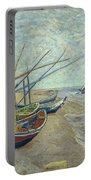 Vincent Van Gogh  Fishing Boats On The Beach At Les Saintes Maries De La Mer Portable Battery Charger