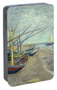 Vincent Van Gogh  Fishing Boats On The Beach At Les Saintes Maries De La Mer Portable Battery Charger
