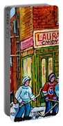 Vintage Candy Store Classic Coca Cola Truck Winter Scene Hockey Art Canadian Art Carole Spandau      Portable Battery Charger