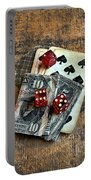 Vintage Cards Dice And Cash Portable Battery Charger
