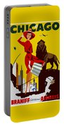 Vintage Chicago Travel Poster Portable Battery Charger