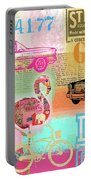 Vintage Collage Flamingo Portable Battery Charger