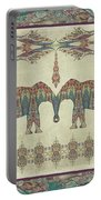 Vintage Elephants Kashmir Paisley Shawl Pattern Artwork Portable Battery Charger by Audrey Jeanne Roberts