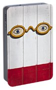 Vintage Eye Sign On Wooden Wall Portable Battery Charger
