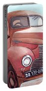 Vintage Fire Truck Watercolor Painting In A Local Scrapyard Portable Battery Charger
