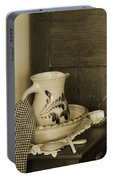 Vintage Grooming Set And Stoneware Water Pitcher In Sepia Tones Portable Battery Charger