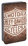 Vintage Harley Davidson Logo Painted On Old Brick Wall Portable Battery Charger