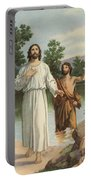 Vintage Illustration Of The Baptism Of Christ Portable Battery Charger