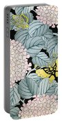 Vintage Japanese Illustration Of A Hydrangea Blossoms And Butterflies Portable Battery Charger