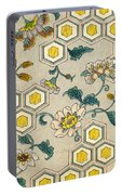 Vintage Japanese Illustration Of Blossoms On A Honeycomb Background Portable Battery Charger
