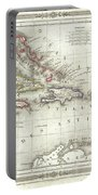 Vintage Map Of The Caribbean - 1852 Portable Battery Charger