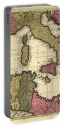 Vintage Map Of The Mediterranean - 1695 Portable Battery Charger