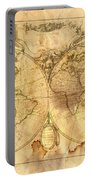 Vintage Map Of The World Portable Battery Charger by Michal Boubin