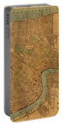 Vintage New Orleans Louisiana Street Map 1919 Retro Cartography Print On Worn Canvas Portable Battery Charger