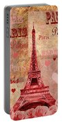 Vintage Paris And Roses Portable Battery Charger