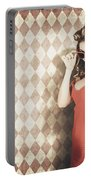 Vintage Pinup Fashion Model In Womens Sunglasses Portable Battery Charger