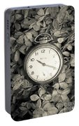 Vintage Pocket Watch Over Flowers Portable Battery Charger