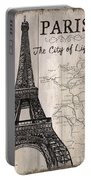 Vintage Travel Poster Paris Portable Battery Charger