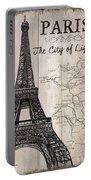 Vintage Travel Poster Paris Portable Battery Charger