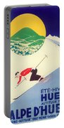 Vintage Travel Skiing Portable Battery Charger