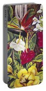 Vintage Tropical Flowers Portable Battery Charger