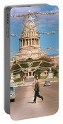 Vintage View Of The Texas State Capitol And Christmas Decorations Strung Along Congress Avenue From December 1960 Portable Battery Charger