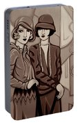 Violet And Rose In Sepia Tone Portable Battery Charger