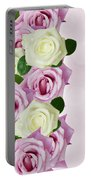 Violet  And White Roses Portable Battery Charger