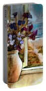 Violet Beach Flowers Portable Battery Charger
