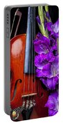 Violin And Purple Glads Portable Battery Charger