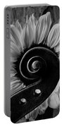 Violin Scroll And Sunflower In Black And White Portable Battery Charger