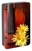 Violin With Daises  Portable Battery Charger