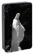 Virgin Mary In Black And White Portable Battery Charger