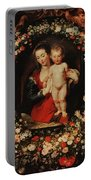 Virgin With A Garland Of Flowers Portable Battery Charger