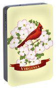 Virginia State Bird Cardinal And Flowering Dogwood Portable Battery Charger by Crista Forest