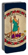 Virginia State Flag Art On Worn Canvas Edition 3 Portable Battery Charger