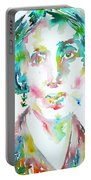 Virginia Woolf Watercolor Portrait Portable Battery Charger