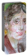 Virginia Woolf - Watercolor Portrait.7 Portable Battery Charger