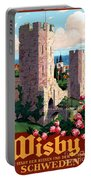 Visby Vintage Travel Poster Restored Portable Battery Charger