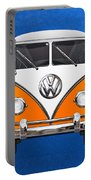 Volkswagen Type - Orange And White Volkswagen T 1 Samba Bus Over Blue Canvas Portable Battery Charger