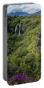 Wailua Falls And Tropical Plants Portable Battery Charger