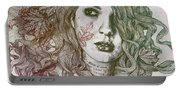 Wake - Autumn - Street Art Woman With Maple Leaves Tattoo Portable Battery Charger