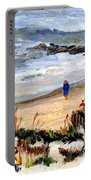Walking The Beach On Long Beach Island Portable Battery Charger