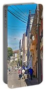 Walking Up Steep Streets In Hilly Valparaiso-chile Portable Battery Charger