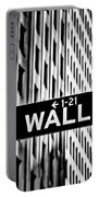 Wall St Sign New York In Black And White Portable Battery Charger